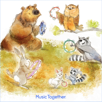 Cute animals playing instruments at Mr. Mark's Music Together Picnic